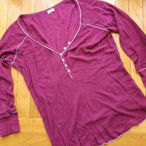 Splendid Henley Thermal Long Sleeve Top